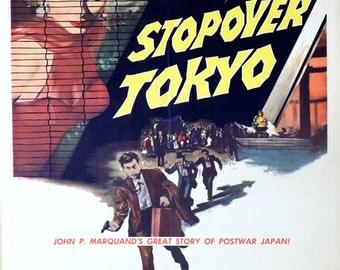 "Stopover Toyko. 1957 Original 14""x18.75"" US Movie Poster.Asian Japan Spy Romance Movie. Robert Wagner, Joan Collins, Edmond O' Brien."