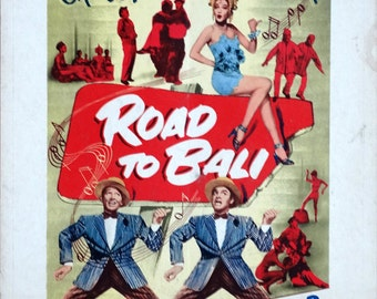 Road to Bali. Original 1952 Movie Poster Window Card. Indonesia Musical Comedy  with Art of Bing Crosby, Bob Hope and Dorothy Lamour.