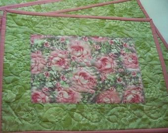 Floral Quilted Placemats - Pink Roses  - Green Print fabrics - Romantic Cottage Style
