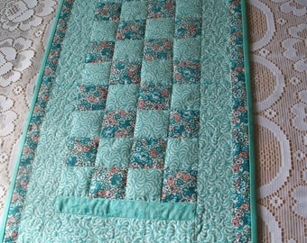 Quilted Table Runner - Country style  - Aqua Coral Flowers -  Patchwork  -  cottage chic