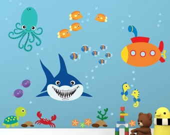 Under the Sea Fish Decal, Reusable Fabric Decal, Submarine Shark Wall Decals, Ecofriendly No Toxins No PVCs Decals, WD65