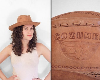 Cozumel Cowboy Hat 1970s Handmade Tooled Leather Hippie Caramel Brown