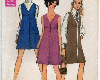 Sleeveless Dress Or Jumper With V Neckline Front Button Above Normal Waistline Size 8 Used Vintage Sewing Pattern 1969 Simplicity 8282