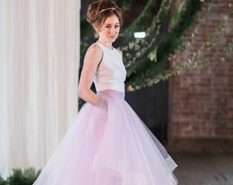 "Bridal Skirt - Eleanor - Horse Hair TrimTulle Skirt 10"" Train -  Wedding Dress with Pockets - Color Wedding Dress - Wedding Skirt"