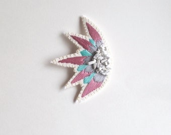 Hand embroidered brooch abstract starburst design with rose pink, mint green and gray colors with white howlite gem beads Summer fashion