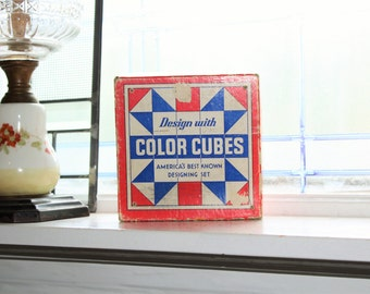 Vintage 1940s Toy Wood Blocks Color Cubes No 12 The Embossing Company