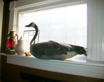 Antique Goose Decoy Canvas and Wire with Straw Stuffing Rustic Decor