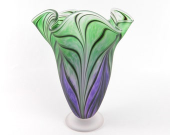 Purple and Green Blown Glass Vase