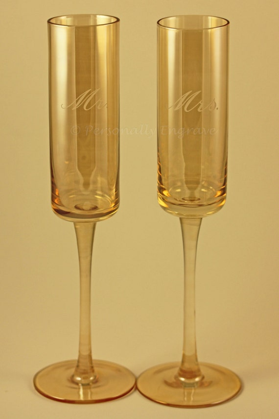 Unique hand blown square bottom rustic champagne glass flutes - Hand blown champagne flutes ...