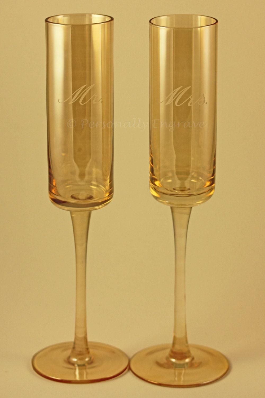 Unique Hand Blown Square Bottom Rustic Champagne Glass Flutes
