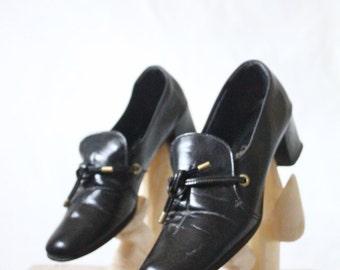 Vintage 1960's Black Loafers Sz 6 N