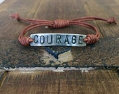 COURAGE ID Bracelet, silver, leather, Hand Stamped Pewter, Inspirational jewelry, bracelet with words, affirmation bracelet