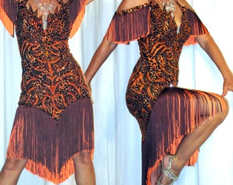 Brown Latin Fringe Dress with Cheetah Applique and Fringe Skirt