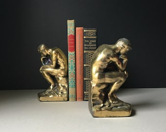 Vintage The Thinker Bookends Pair // Hollywood Regency // Art Deco // Mid Century // Vintage Bookends // Office Decor, Library, Thinking Man