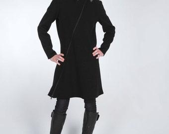 Asymmetrical Black Wool Coat with Two Way Zipper
