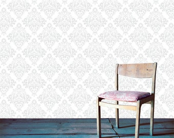 Removable Wallpaper- Helen Damask- Peel & Stick Self Adhesive Fabric Temporary Wallpaper-Repositionable-Reusable- FAST. EASY.
