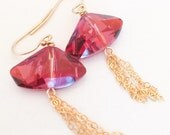 Red Swarovski Crystal Earrings - Red Sparkle Earrings - Red Dangle Earrings - Sparkly Crystal Earrings - Red Crystal Earrings - Red Earrings