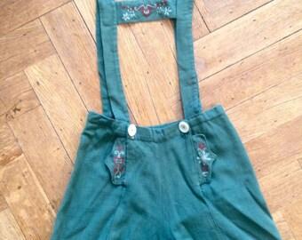 Lovely 1940 1950 linnen embroidered letherhosse