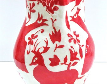 Sgraffito Carved OTOMI PITCHER Stoneware -  Birds  w/ Flowers Art Pottery, Artist Designed Made, Folk Art Inspired, Customize Colors