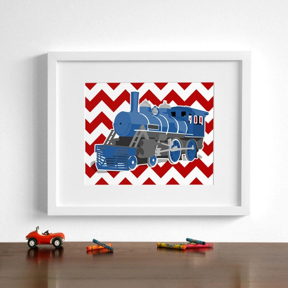 Train boys wall art, locomotive- steam engine number 104 - pick your colors- railroad nursery art print