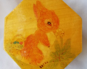 Vintage 1970's Easter Bunny Wooden Box Asian