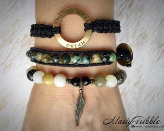 Feather Bracelet Stack, Dream Bracelet Set, Boho Mala Beads, Om Bracelet, Wrist Mala Bracelet, Ohm Mala Beads, Yoga Bracelet Stack, Om Yoga