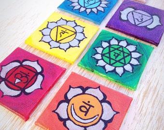 Chakra Painting, Chakra Magnet Set, Mini Small Paintings, Original Acrylic Painting, Charka Art, Chakra Painting, Yoga Art, Yoga Painting