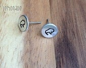 Buffalo Earrings / Hand Stamp Surgical Steel Earrings /Silver Aluminum Earrings / Dainty Buffalo Studs / Bison Earrings