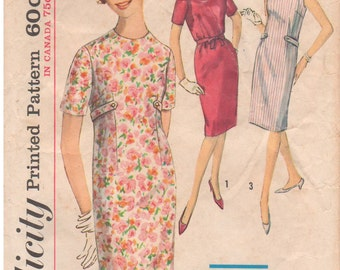 1963 - Simplicity 5316 Vintage Sewing Pattern Size 16 Bust 36 Simple To Sew One Piece Dress Sheath Dart Fitted Please See Description