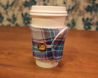 Flannel Coffee Cozy, Plaid Coffee Cozie,  Blue, Dark Purple and Pale Purple , Iced Coffee, Travel Coffee Sleeve, Cotton, Starbucks