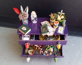 Miniature VOODOO Spiritual HERBALIST apothecary natural magic shop chest, dollhouse filled display 1:12 scale potions candles talismans bone