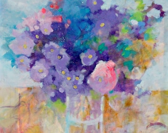 """Beautiful Abstract Floral Painting, Bouquet of Flowers Still Life, Large Canvas """"Summer's Glory"""" 24x24"""""""