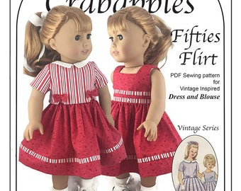 """Fifties Flirt PDF Sewing Pattern for American Girl and other 18"""" dolls"""