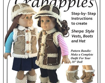 "Chilly Morning Vest, Hat and Boot Bundle for 18"" dolls"