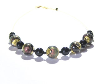 Murano Glass Black Gold Dichroic Ball Necklace, Venetian Glass Jewelry, Beaded Lampwork Necklace