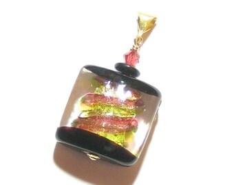 Murano Glass Pink Green Square Pendant Necklace, Murano Glass Jewelry, Venetian Glass Jewelry, Italian Jewelry, Black Gold Pendant
