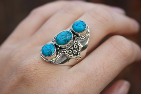 3 STONE TURQUOISE RING -Sterling Silver Ring- Labradorite Ring- Healing Crystal Jewellery- Chakra Ring- Statement Ring- Vintage- Crystal