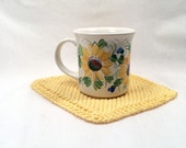 Sunflower hand painted ceramic mug with cotton hand knit hot pad personalizable gift
