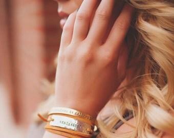 Wanderlust leather wrap bracelet, travel gift, graduation gift, travel bracelet, custom hand stamped leather wrap, wanderlust bracelet.