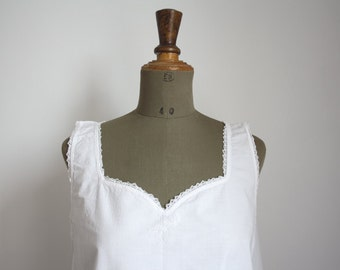 1900s White Cotton Dress // French Vintage // Embroidered // 03