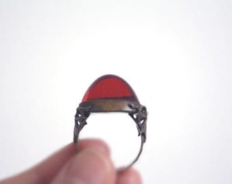 RED Glass Ring // Vintage tribal ring //
