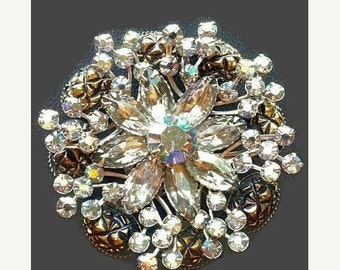 """Judy Lee Brooch Pin Sparkly Rhinestone Givre Glass Tiered Floral Cluster Silver Metal 2.5"""" Vintage"""