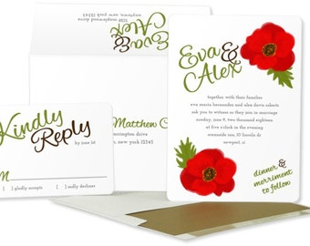 Casual Wedding Invitations: Watercolor Poppies Invitation.  Red Floral Wedding Invitation.  Rustic Chic wedding.  Pink and Brown Wedding.