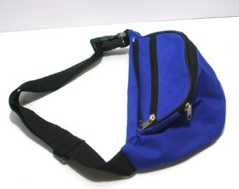 Vintage Royal Blue Nylon Canvas Fanny Pack Hands Free Waist Bag Retro Preppy Colors Perfect Accessory Hipster Vacation Sapphire Black Strap