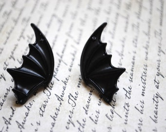 Bat Earrings -- Bat Wing Earrings, Studs, Black Bats, Silver