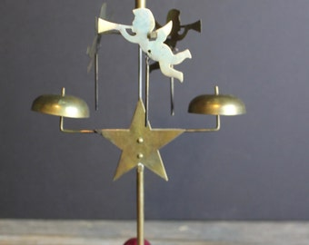 Vintage Angel Carousel Chimes Candle Holder // Christmas Carousel // Brass
