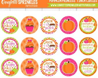 "INSTANT DOWNLOAD Fall Pink ""Pumpkin Princess"" 4x6 Digital 1"" Inch Bottle Cap Image/Digital Collage sheet"
