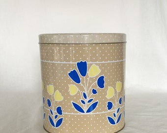 "Vintage Canister Tin Tulips Polka Dots Stands 7 1/2"" Holds 16 Cups"