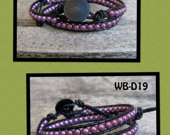 WB-D19 double beaded wrap bracelet - black leather with purple miracle beads