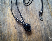 Bohemian Macrame stone necklace Black Onyx gothic chic jewelry with Sterling silver beads by Creations Mariposa READY TO SHIP